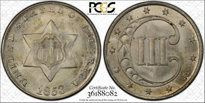 1853 3cs Three Cent Silver PCGS MS67 **Only 3 Graded Higher!**
