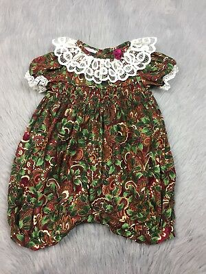 Vintage Baby Girls Allison Ann Red Green Floral Smocked Lace Ruffle Romper Xmas