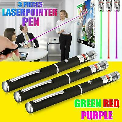 3PC Red Green Blue Laser Pointer Pen  650/523/405nm Mini AAA Lazer Visible Beam