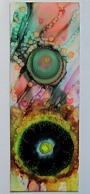 """Hand painted original BOOKMARK large 2.5x7"""" two sided colorful by L Kohler"""