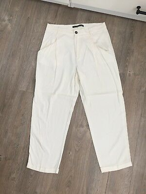 Women's Zara Cream Ivory Darted Tapered Pants Size Large