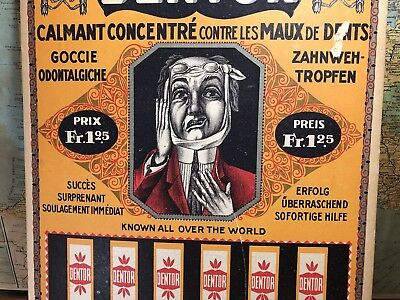 Rare Swiss Dentor Tooth Ache Drops Advertising Poster//Antique//Vintage
