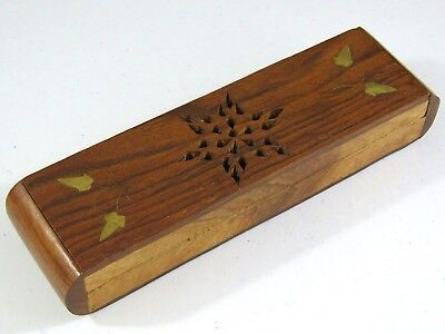 Vintage Hand Carved Asian Rosewood Box Brass Inlay Detail Desk Pen Pencil Keeper