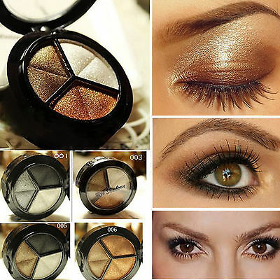 3 Colours Eyeshadow Natural Smoky Cosmetic Makeup Eye Shadow Palette Kit Make Up