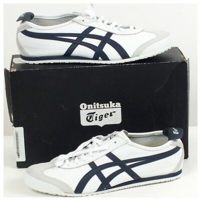 detailed look 3a512 e63e1 ONITSUKA TIGER MEXICO 66 White Navy Men's DL408 Leather Asics Size 14