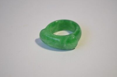 Vintage Natural Genuine Green Jadeite Jade Saddle Unisex Ring Size 10
