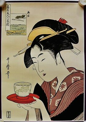 Vintage Japanese lithographic Print on paper, Geisha beauty  Kitagawa serve tea