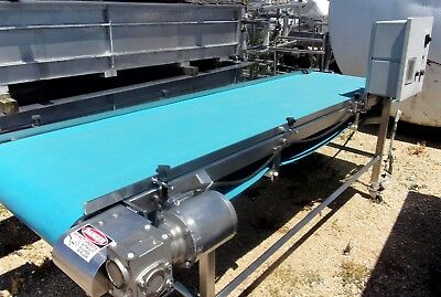 32 Inch X 10 Foot Stainless Steel Sanitary Blue Belt Conveyor