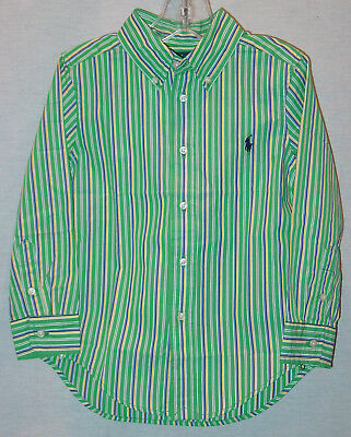 Ralph Lauren  Boys Long Sleeve Green Striped Shirt Toddler Sizes New With Tags