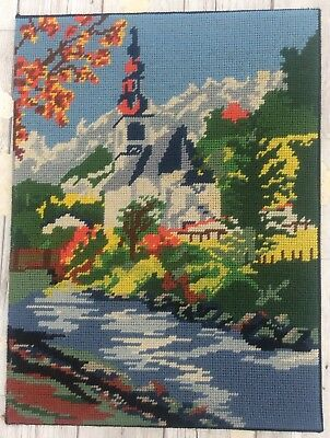 Fab Vtg Completed Tapestry European Church By River design Upcycle Craft Reuse