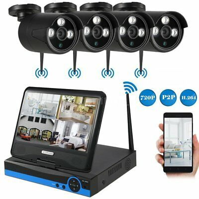 """Wireless Security System 4Pcs IP Camera with 10.1"""" Monitor Home Surveillance Kit"""