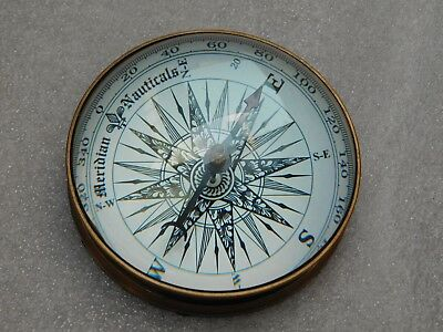 Antique Brass Nautical Collectible Floating Dial Magnifying Desk Lens Compass