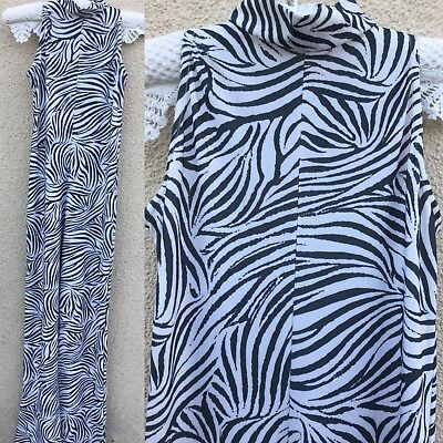 VINTAGE Style 60's 70s ZEBRA ANIMAL PRINT CATSUIT FLARE FANCY DRESS PARTY S 8 10