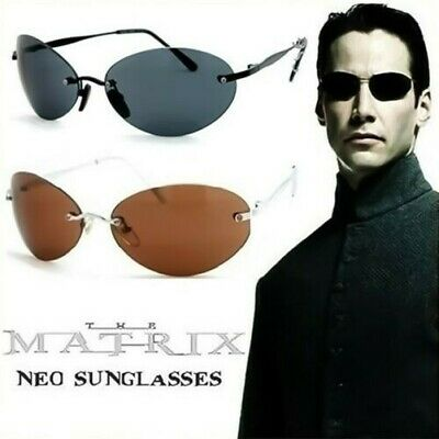Sunglasses Matrix Neo Style Man Woman Cult Movie Rimless Aviator Vintage