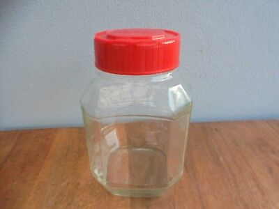 Large Vintage Maxwell House Glass Coffee Jar With Orginal Red Lid