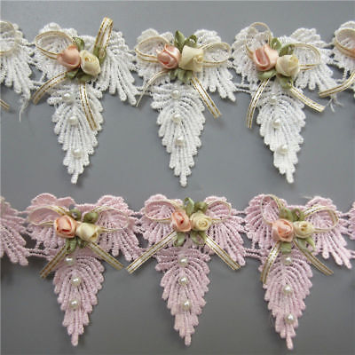 5X Vintage Butterfly Bow Flower Leaves Pearl Lace Edge Trim Ribbon Sewing Craft