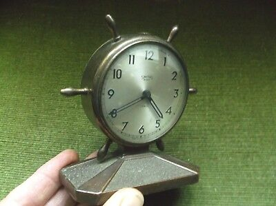 Rare Unusual Novelty Metal Ships Wheel Desk Clock, 7 Jewels, 8-Day By Smiths
