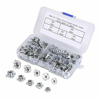 OwnMy T-Nuts 90Pcs Zinc Plated Steel Blind Nuts Four Claws Nut Threaded Insert 4