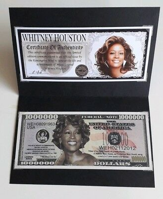Whitney Houston - Original Collectors Commemorative Limited Edition Bank Note