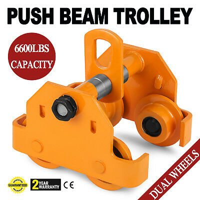 3 Ton Push Beam Track Roller Trolley Winch Washers Included Capacity 6600Lbs