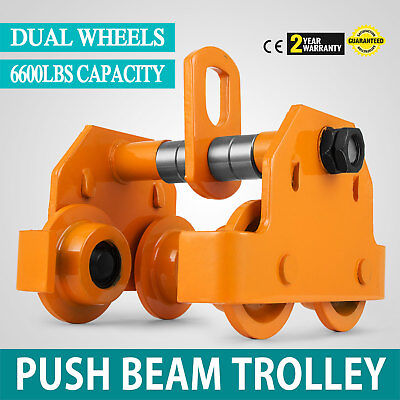 3 Ton Push Beam Track Roller Trolley Washers Included Handling Tool Solid Steel