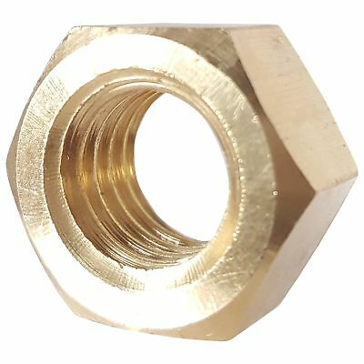 3/8-16 Full Finished Hex Nuts, Solid Brass, Grade 360, Plain Finish, Quantity 25
