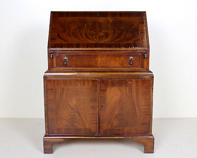 Retro Vintage Bureau Art Deco Walnut Writing Desk Cabinet 1960s 70s
