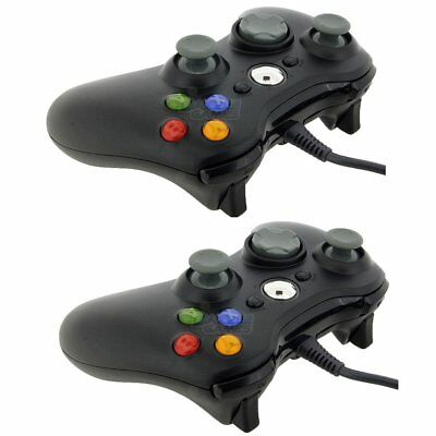 2x New Black Wired USB Game Pad Controller For Microsoft Xbox 360 PC Windows BE