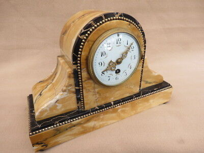 Lovely Quality Antique French Sienna Marble Clock Fully Serviced