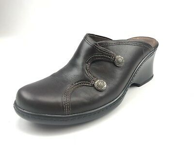 89afe2a9a2c1b2 Womens Clarks Button Mules Size 7M Brown Leather Slides Slip-Ons Clogs  Loafers