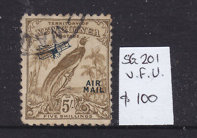 New Guinea:  5/   Bofp   Un Dated Ov/pr Airmail  Sg 201  Cto/vfu