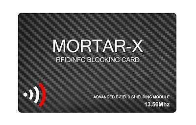 MORTAR-X RFID NFC BLOCKING CARD - Contactless Payment Data Blocker- ID Protector