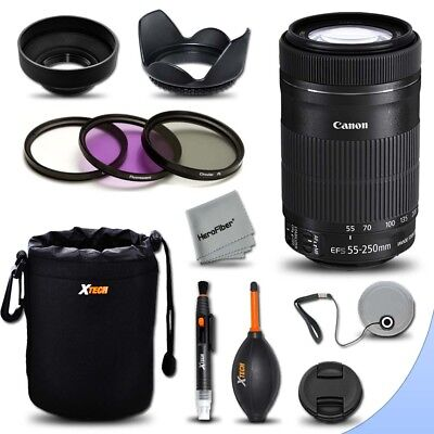 Canon EF-S 55-250mm F4-5.6 IS STM Lens + Essential Kit for Canon DSLR Cameras