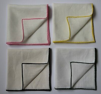 Linen pocket square handkerchiefs with coloured hand rolled border 33cm square