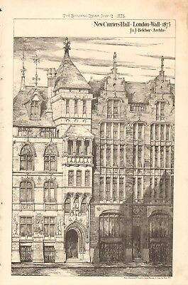 Art Prints Proposed Restoration Of Exterior Of Westminster Hall Antiques 1884 Antique Print