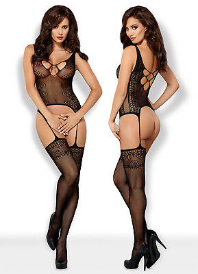 OBSESSIVE F228 Luxury Super Soft Decorative Patterned Fishnet Bodystocking