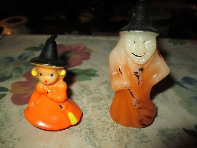 Nice Vintage Gurley Halloween Candles ~ Witch with Black Cat & Girl Witch Broom