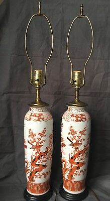 Japanese Hand Painted Porcelain Vase Table Lamp ( no shade)