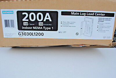 Siemens 200-Amp 1-Ph 120/240V 3-Wire Main Lug Load Center 30-Circuits Indoor New