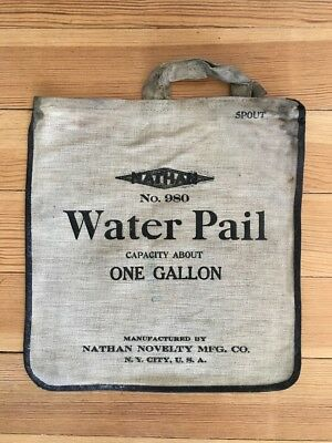 Antique NATHAN NOVELTY No. 980 Water Pail Canvas Bag Auto Traveler Camp Vintage
