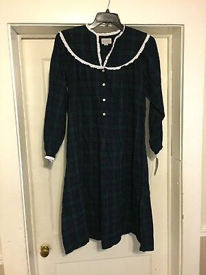 LANZ OF SALZBURG FLANNEL BLUE GREEN PLAID NIGHTGOWN SMALL NEW WITH TAGS  64  RTL 59cdcf53e