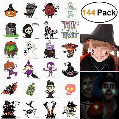 Halloween Tattoos Glow in the Dark for Kids Unicorn Birthday Party Favors 144PC