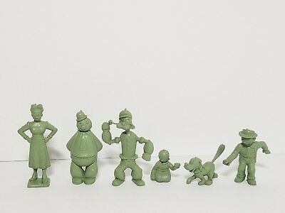 Vintage 50s-60s MARX Green Molded Plastic Figures Popeye Sunday Funnies Lot #2