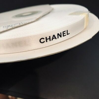 Gift Wrapping 0.25 inch wide Chanel Ribbon 1 yard/3 feet -White+Black Lettering