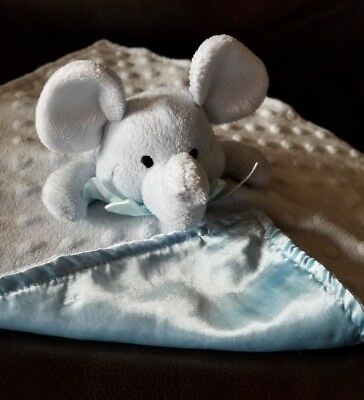 Elegant Baby Blue Minky Dot Elephant Baby Blanket Security Lovey