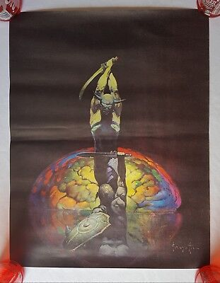 "RaRe. vintage Frank Frazetta ""The Brain"" canvas 18x23"" poster 1967 fantasy art"