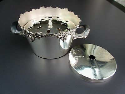 Old English Reprodution Silver Plate Flower Centerpiece Frog Vase  w Two Inserts