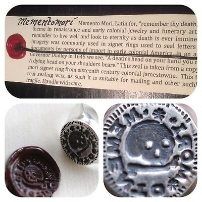 Memento Mori Wax Seal Attached to cord bookmark with information card