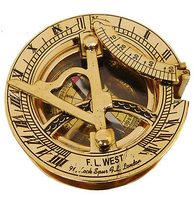 Brass Compass Sundial Antique Nautical West London Vintage Maritime Pocket Gift