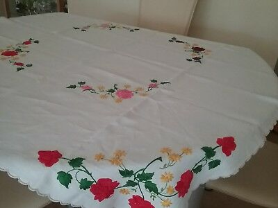 Vintage Pure Linen Hand Embroidered Table Cloth